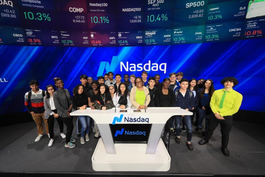 Academy+of+Finance+students+traveled+to+New+York+to+visit+the+NASDAQ+for+the+day.