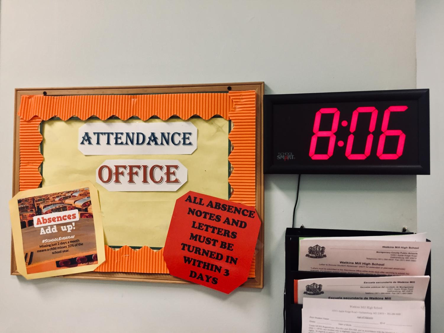 Students who are known for being tardy or absent often report to the attendance office for notes, signing in, or other issues.