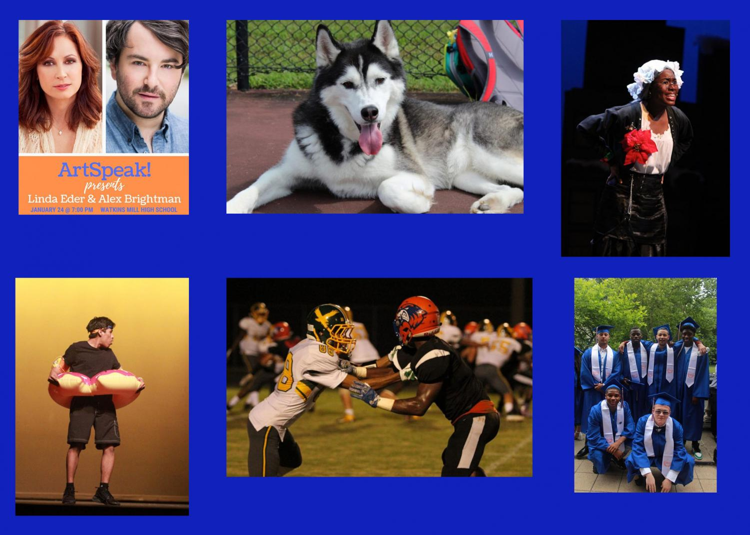 A collage of photos from previous articles to showcase a year in review at Watkins Mill High School.