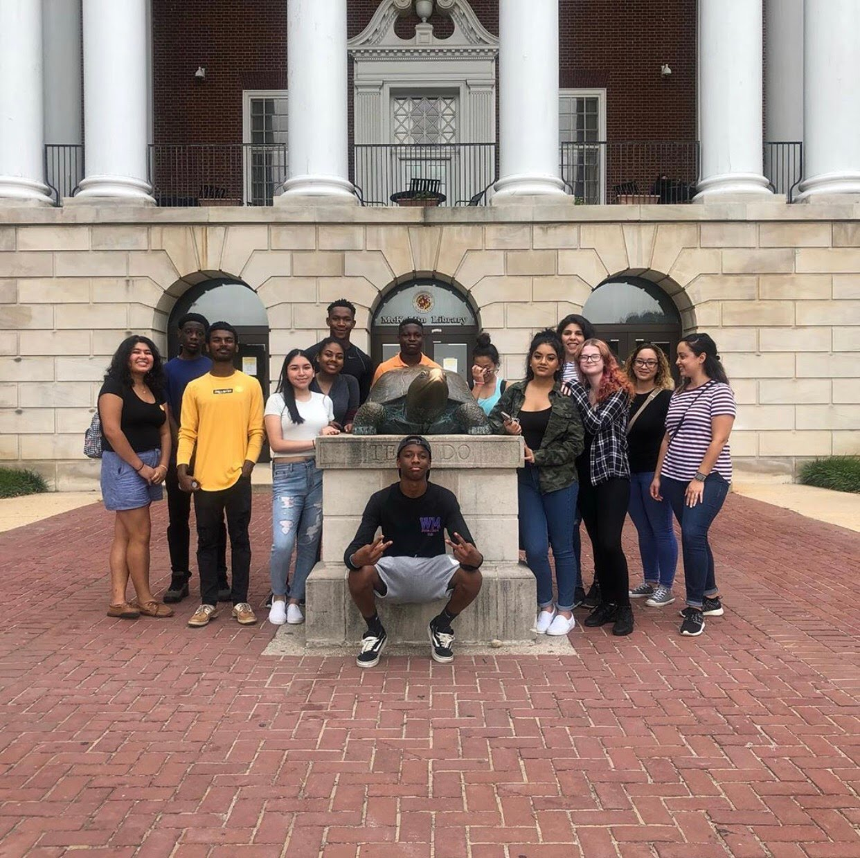 Current seniors visited the University of Maryland in summer of 2019 and posed near Testudo.
