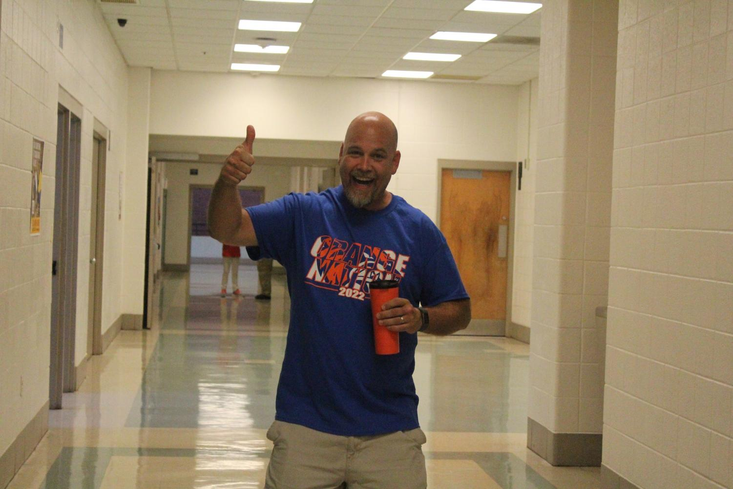 Social+Studies+teacher+William+Funk+is+excited+to+greet+all+the+new+students+at+orientation.