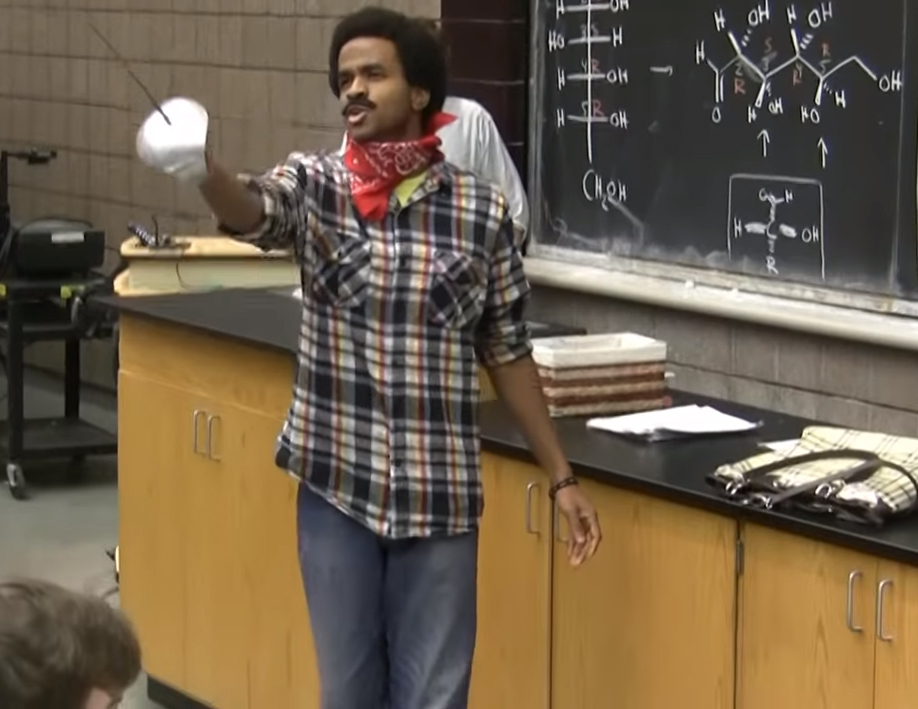 Science teacher Jerel Merril as a thief in his YouTube prank when he was a student at the University of Michigan.