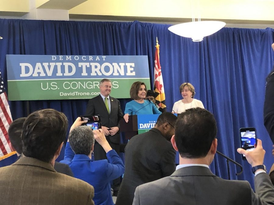 Speaker of the House Nancy Pelosi endorsing David Trone at the Gaithersburg High School spaghetti dinner fundraiser.
