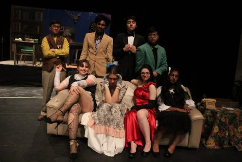 Seniors Steph Ventura and Kelly Mok, juniors Vivian Ingram, Coley Farragut, and Rhamzy Achmad, sophomore Maggie Burguess Leary, freshman Nathan Campbell, and eighth-grader Sonia Thanicatt all star in the production of CLUE.
