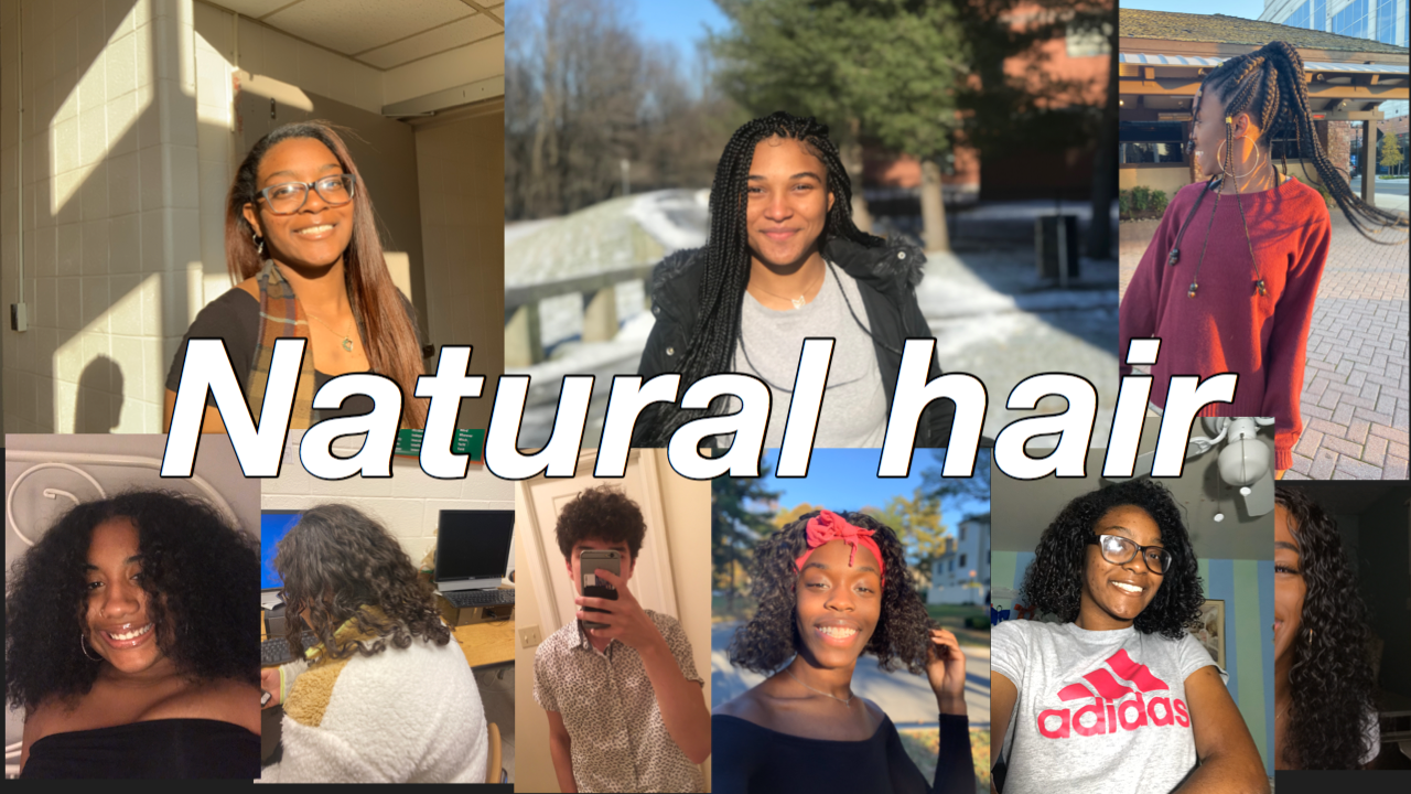 Seniors Leah Niles, Amelia Burton, Briana Bittings, Yesenia Pineda, and Arthur Siqueira, and junior Kayla Holt show off their natural hair in various styles.