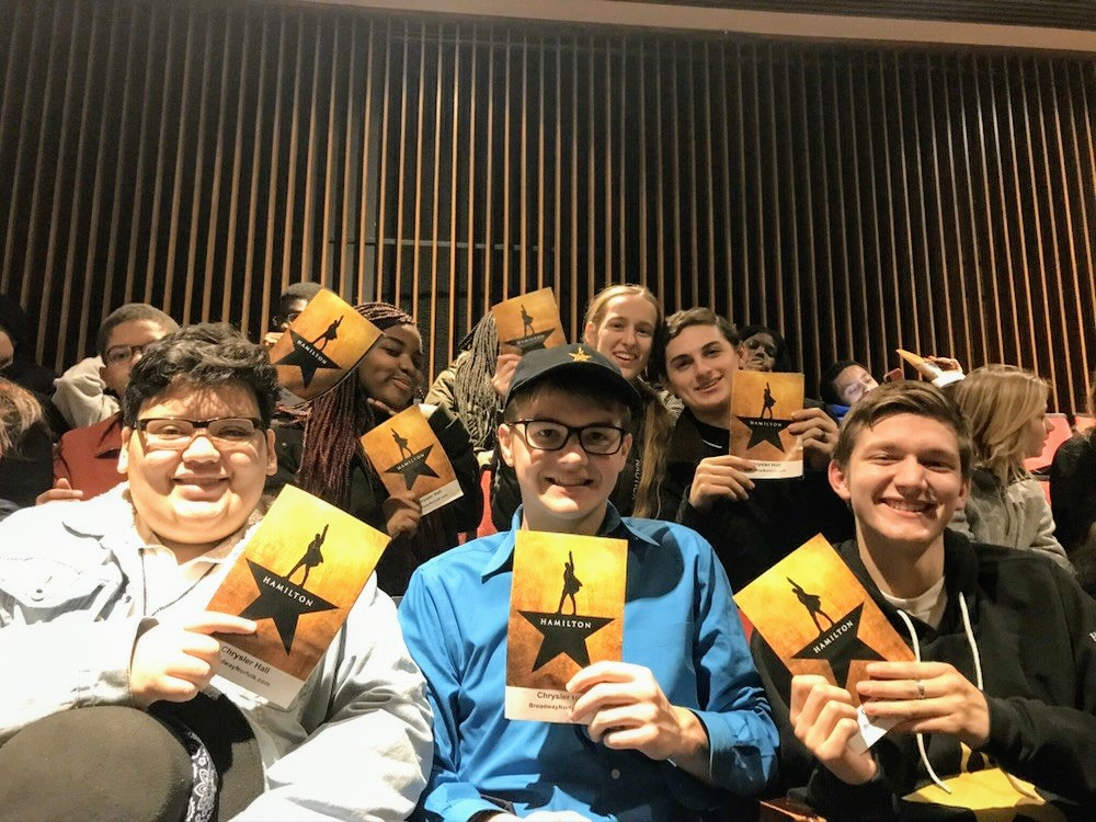 From top left to bottom right, sophomore Jodeleine Pierre, juniors Bethany Hurt, Antonio  Johnson, Jason Delcid,  Griffen MacLaren, Christopher Thomson excited to see Hamilton: An American Musical.
