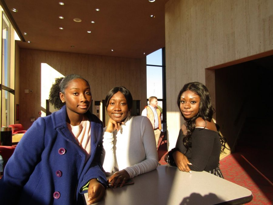 Juniors Assiy Traore, Comfort Oshagbemi, and Letitia Fianko waiting for Hamilton: An American Musical to begin.