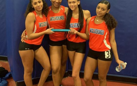 The Watkins Mill High School Indoor Track girls 4x2 relay team placed first in their heat at the MCPS Championships.