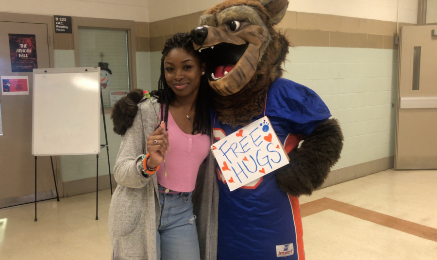 Watkins Mill High School celebrated Valentine's Day with Wally the Wolverine.