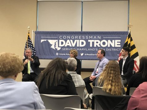 Representative David Trone explaining what he is doing in Congress to improve Medicare.