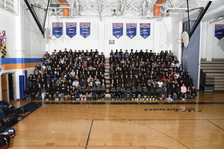 The+2020+senior+class+of+Watkins+Mill+High+School+poses+for+their+class+photo.