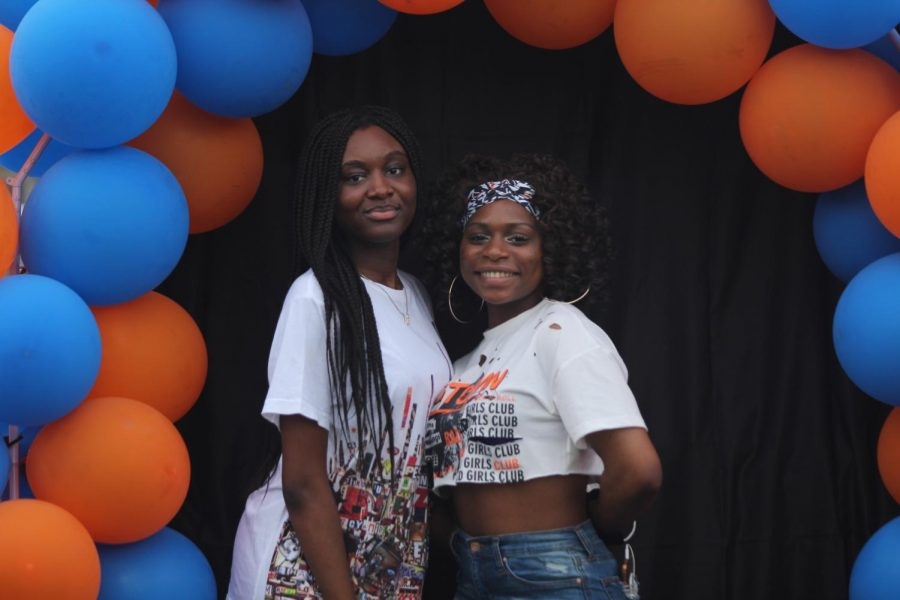 Seniors Asnath Balilonoso and Bella Fongou at their senior night.