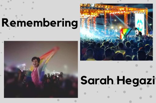 Sarah Hegazi raising a rainbow flag with friends at a concert in Cairo.