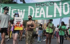 Protesters marching at the Green New Deal rally in August to try to engage lawmakers in policies to combat climate change.