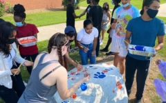 Seniors painting the rock and preparing for their final year of high school.