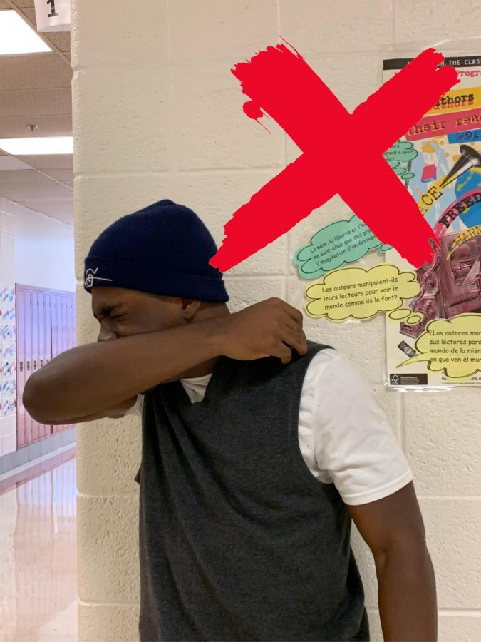 Senior Phanuel Njang coughing in the hallway (which we do NOT recommend).